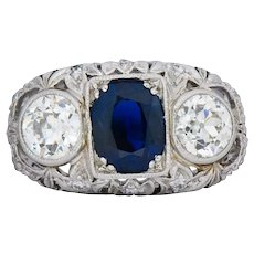 Sumptuous Art Deco 3.70 CTW No Heat Sapphire Diamond Platinum Anniversary Ring AGL