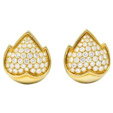 Van Cleef and Arpels 1960's 3.75 CTW Diamond 18 Karat Yellow Gold Flame Ear-Clip Earrings