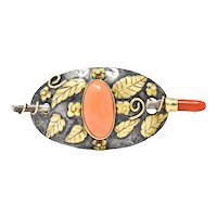 Arts & Crafts Coral 14 Karat Gold Sterling Silver Brooch
