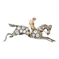Victorian 1.65 CTW Diamond Enamel Silver-Topped 14 Karat Gold Horse Brooch Pendant