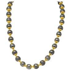 Vintage Metal Ball 18 Karat Gold Bead Necklace