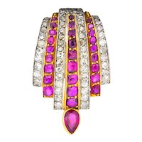 Cartier Paris CA 1915 3.75 CTW Burma Ruby Diamond Platinum 18 Karat Gold Clip Brooch