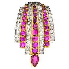 Cartier Paris CA 1915 3.75 CTW Burma Ruby Diamond Platinum 18 Karat Gold Clip Brooch