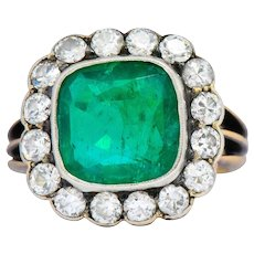 Victorian 4.85 CTW Emerald Diamond Silver-Topped 14 Karat Gold Ring Circa 1880