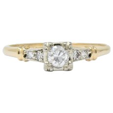 Retro 0.32 CTW Diamond 14 Karat Gold Engagement Ring Circa 1940