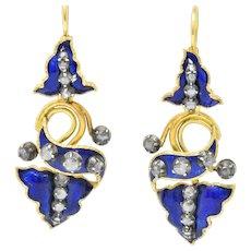 Victorian 1.00 CTW Diamond Enamel Silver 18 Karat Gold Day/Night Drop Earrings