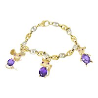 Contemporary 10.70 CTW Amethyst Ruby 14 & 18 Karat Two-Tone Gold Charm Bracelet