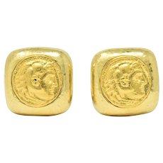 Striking David Webb Ancient Coin 18 Karat Gold Ear-Clips Earrings