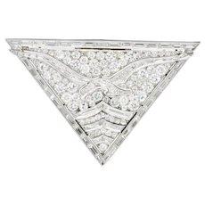 French Art Deco 7.50 CTW Diamond Seagull Bird Platinum Clip Brooch