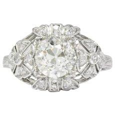 Art Deco 1.84 CTW Diamond Platinum Engagement Ring GIA