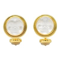 Elizabeth Locke Crystal Mother Of Pearl 18 Karat Gold Man-In-The-Moon Cufflinks