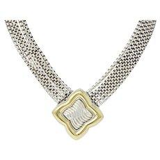Substantial David Yurman Quatrefoil 18 Karat Gold Sterling Silver Chain Necklace