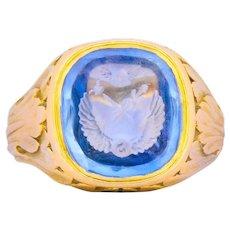 Victorian 7.00 CTW Intaglio Sapphire 18 Karat Gold Unisex Signet Ring