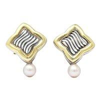David Yurman Quatrefoil Pearl 18 Karat Gold Sterling Silver Post Earrings