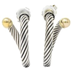 David Yurman 14 Karat Gold Sterling Silver Large Cable Twist Hoop Earrings