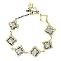 David Yurman Quatrefoil 18 Karat Gold Sterling Silver Link Bracelet w Charm