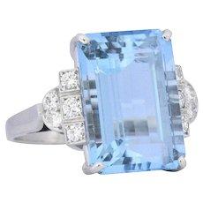 Art Deco 7.75 CTW Aquamarine Diamond Platinum Cocktail Ring