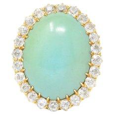 Victorian Diamond Turquoise 18 Karat Gold Cocktail Cluster Ring