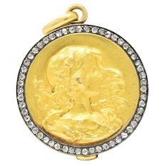 Art Nouveau Rose Cut Diamond 18 Karat Gold Silver Locket Pendant