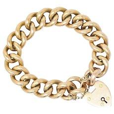 Victorian 9 Karat Rose Gold Heart Lock Bracelet Signed NB