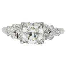 Art Deco 1.05 CTW Diamond Platinum Engagement Ring GIA