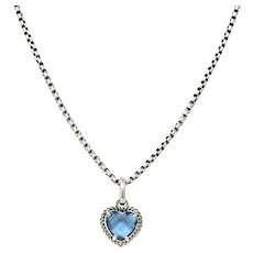David Yurman Blue Topaz Heart Sterling Silver Pendant Necklace