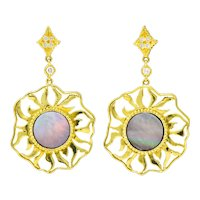Doris Panos Diamond Mother-Of-Pearl 18 Karat Gold Sunburst Drop Earrings