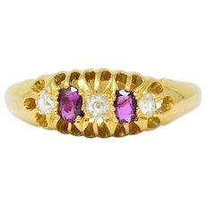 Victorian H.W.L. 0.40 CTW Diamond Ruby 18 Karat Gold Ring