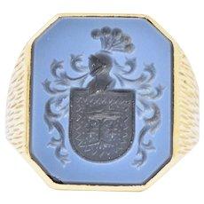 Superb Victorian Hardstone Intaglio 18 Karat Gold Men's Signet Ring