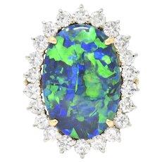 Exceptional 1960's Black Opal Diamond 14 Karat Gold Ring GIA