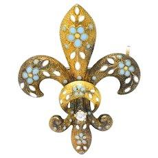Krementz Victorian Diamond Enamel 14 Karat Gold Fleur-De-Lis Pin Brooch