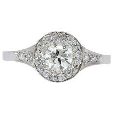 Art Deco 1.10 CTW Diamond Low Profile Platinum Engagement Ring