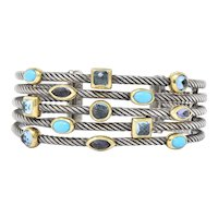 David Yurman Turquoise Blue Topaz Iolite Sterling Silver 18 Karat Gold Confetti Cuff Bracelet
