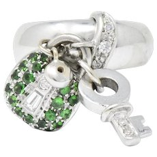 Salavetti 0.75 CTW Diamond Brown Diamond Tsavorite 18 Karat White Gold Charm Ring