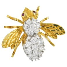 Tiffany & Co. Retro 1.95 CTW Diamond Ruby 18 Karat Two-Tone Gold Bee Pin