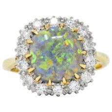 Vibrant Edwardian Black Opal Diamond Platinum 18 Karat Gold Ring