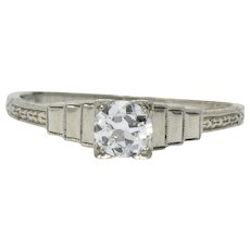 Art Deco 0.40 CTS Diamond 18 Karat White Gold Engagement Ring