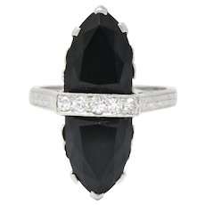Art Deco Diamond Onyx Platinum Ring