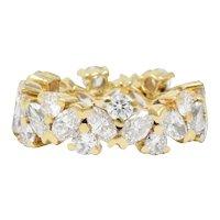 Contemporary 3.65 CTW Diamond 14 Karat Gold Eternity Band Ring