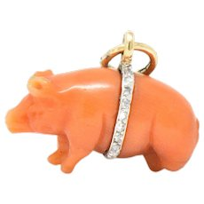 Victorian Carved Coral Rose Cut Diamond 18 Karat Gold Pig Charm