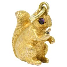 Victorian 18 Karat Gold  Ruby Squirrel Charm