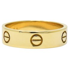 Cartier Men's 18 Karat Gold Love Collection Band Ring