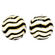 David Webb 18 Karat Gold Black White Enamel Zebra Kingdom Collection Ear Clips Earrings