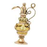 Victorian 18 Karat Tri-Color Gold Ewer Charm