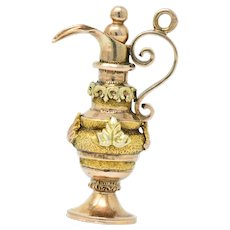 Victorian 18 Karat Tri-Color Gold Ewer Pitcher Charm