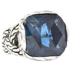 John Hardy Cushion Cut London Blue Topaz Chain Sterling Silver Ring