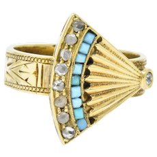 Victorian Diamond Turquoise 14 Karat Gold Ornate Fan Ring