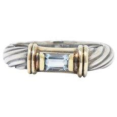David Yurman Blue Topaz 14 Karat Gold Sterling Silver Metro Ring