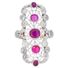 Edwardian 3.60 CTW Diamond Ruby Platinum-Topped 14 Karat Gold Dinner Ring