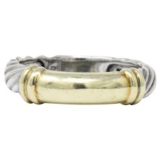 David Yurman 14 Karat Gold Sterling Silver Metro Cable Stack Band Ring